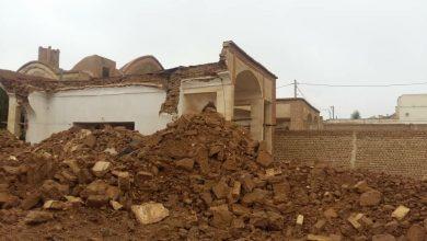 تصویر تخریب بخشی از خانه تاریخی قیصری در محله بازار آران و بیدگل