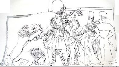 تصویر سنگ نگارۀ «سَرمشهد»، نمود اِقتدار شاهنشاه ساسانی