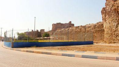 تصویر سبزشدن زمین فوتبال در حریم قلعه هرمز!