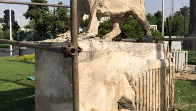 تصویر شیرهای میدان حر بییال و دم شدند!/تخریب به بهانه مرمت!